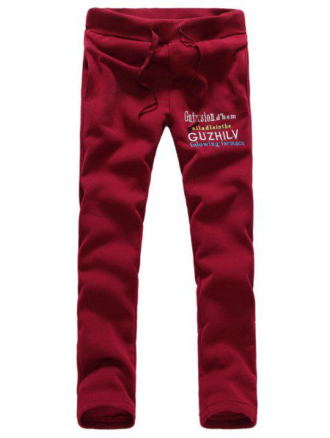 Drawstring Pocket Letter Print Pants - RED L