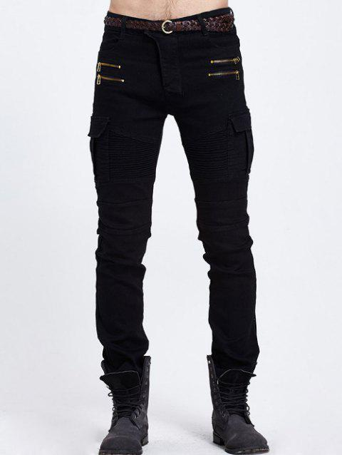 Slim Fit Pocket Zipper Embellished Biker Jeans - BLACK M