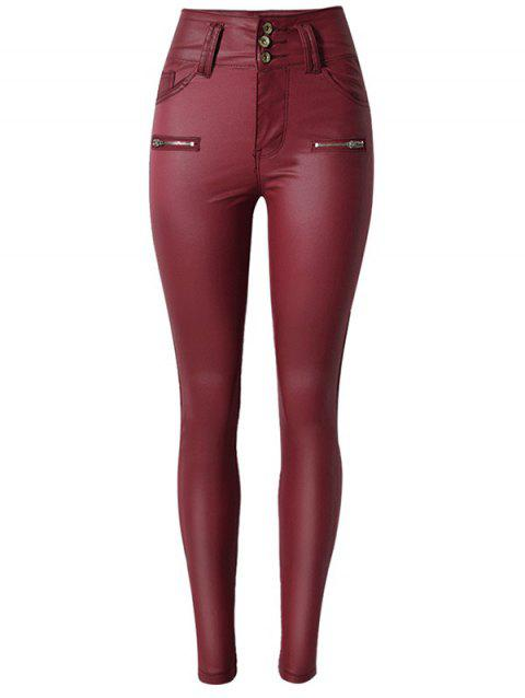 Faux Leather Rise Waist Skinny Pants - WINE RED L