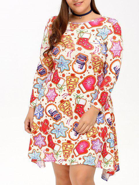 759ef49cd67 41% OFF  2019 Cookie Print Swing Dress In COLORMIX 4XL