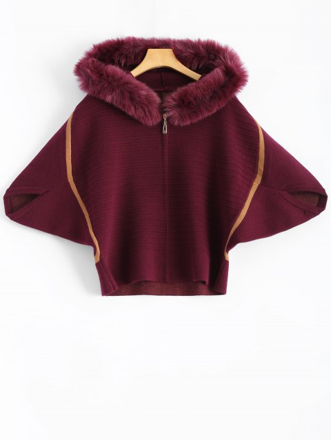 Faux Fur Hoodie Batwing Cardigan - PURPLE RED ONE SIZE