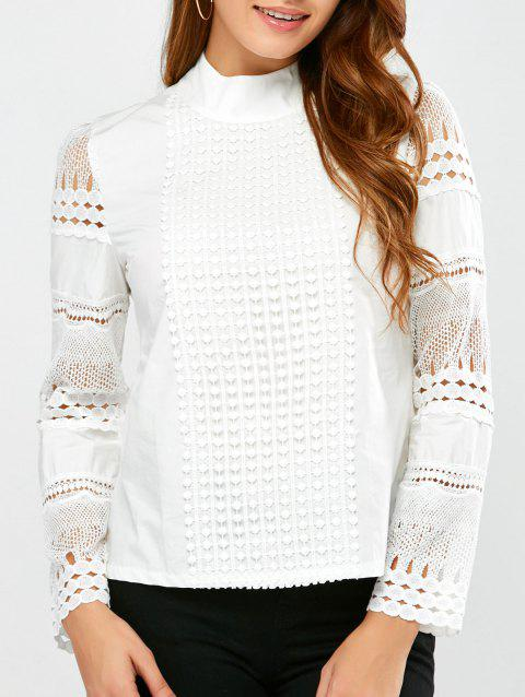 Lace Insert Crochet Blouse - WHITE L