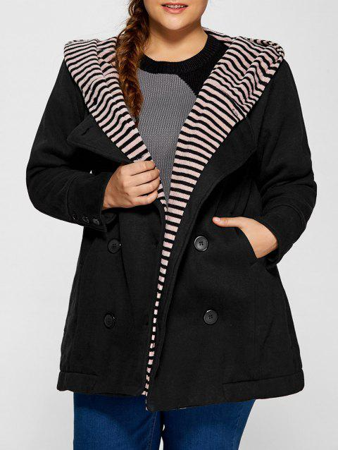 Double-Breasted Striped Spliced Hooded Peacoat - BLACK ONE SIZE