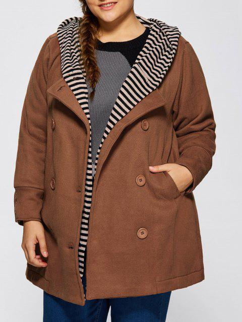 Double-Breasted Striped Spliced Hooded Peacoat - JACINTH ONE SIZE