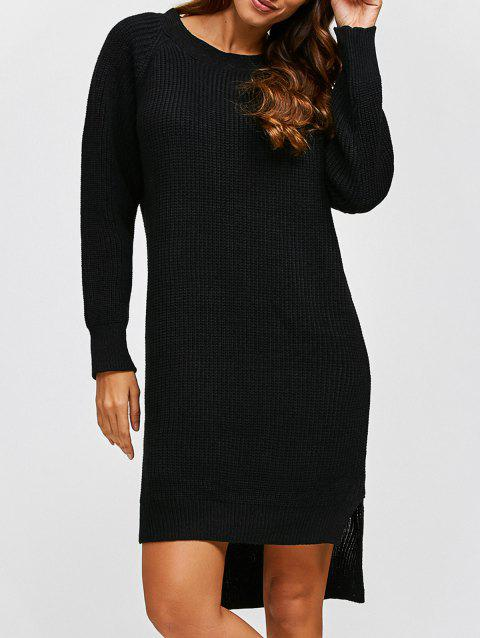 5c2c614daac 41% OFF  2019 High Low Long Sleeve Sweater Dress In BLACK