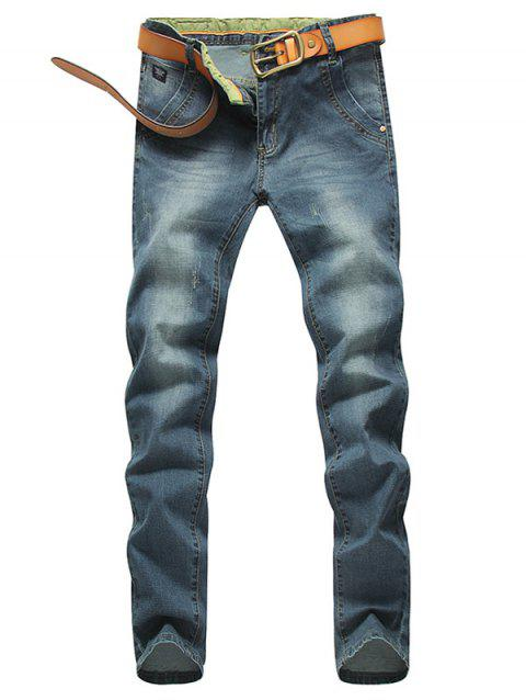 Zip Fly Mid Waisted Jeans in Tapered Fit - BLUE 33