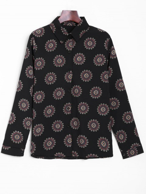 Button Up Printed Floral Shirt - BLACK ONE SIZE