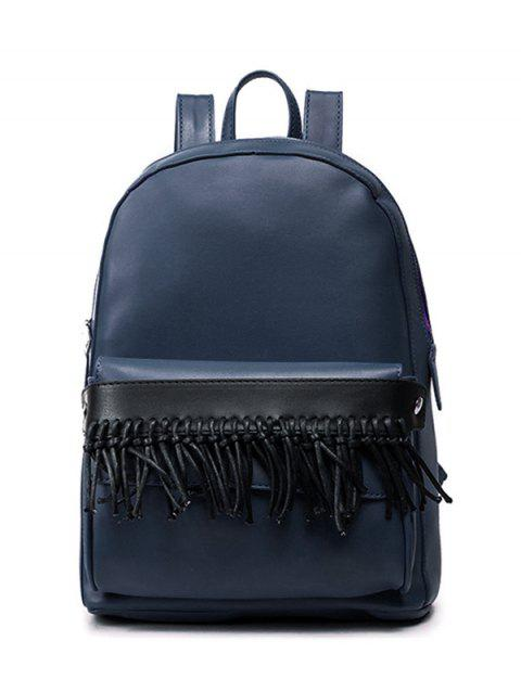 Concise Fringe PU Leather Backpack - BLUE