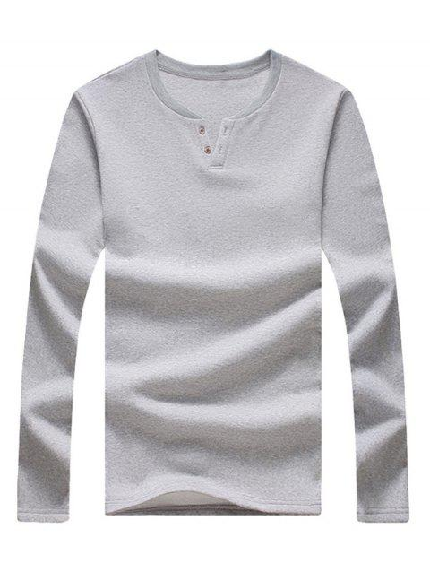 Notch Neck Button Long Sleeve Tee - LIGHT GREY 3XL