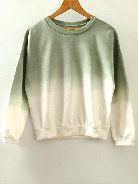 Round Neck Ombre Sweatshirt - ARMY GREEN ONE SIZE