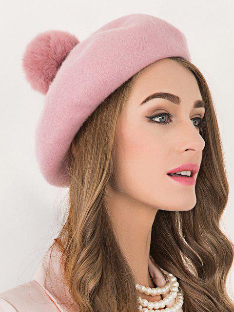 LIMITED OFFER  2019 Soft Wool Fuzzy Ball Beanie Beret Hat In PINK ... 710225c2929f