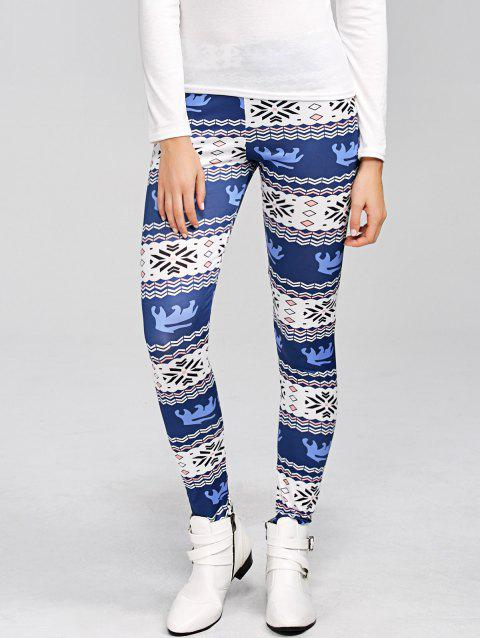 Leggings moulant imprimé flocon de neige de Noël - Bleu M