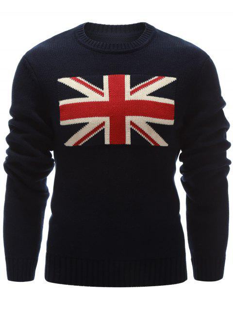 Flat Knitted Flag Pattern Crew Neck Sweater - CADETBLUE M