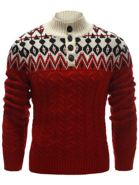 Button Up Zigzag Pattern Cable Knit Sweater - RED M