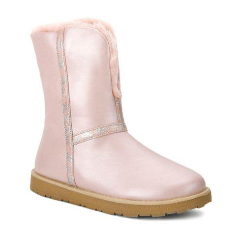 Colour Splicing Flat Heel Snow Boots - PINK 38