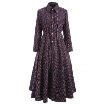 Polka Dot Woolen Skirted A Line Maxi Coat