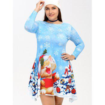 Christmas Snowflake Kitten Print Skater Dress