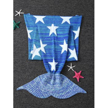 Warmth Stars Pattern Knitted Mermaid Tail Blanket - BLUE