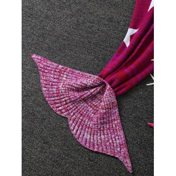 Warmth Stars Pattern Knitted Mermaid Tail Blanket - ROSE RED