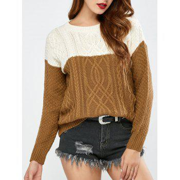 Color Block Pullover Cable Sweater