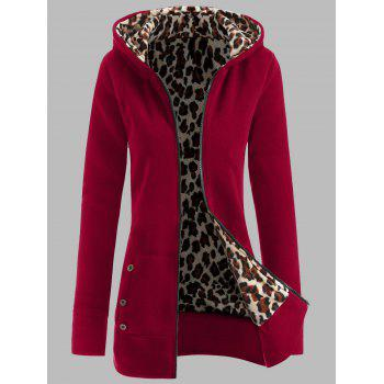 Plus Size Leopard Pattern Fur-Lined Coat