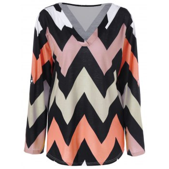 Plus Size Zigzag Adjustable Sleeve Tee