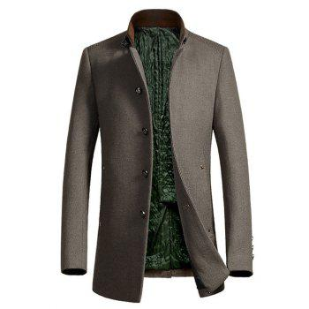 Buy Stand Collar Single-Breasted Embellished Woolen Coat CAMEL