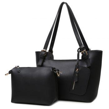 Concise PU Leather Buckles Shoulder Bag