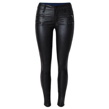 Zippers Faux Leather Ponte Pants