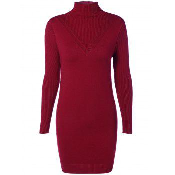 High Neck Ribbed Bodycon Sweater Dress