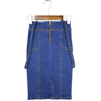 High Waisted Denim Sheath Braces Skirt