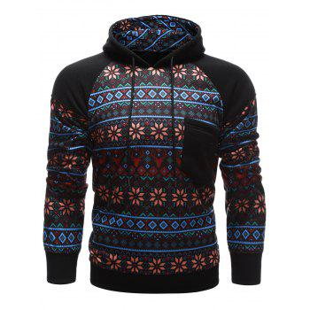 Tribal Print Chest Pocket Raglan Sleeve Hoodie