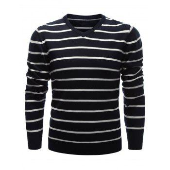 Contrast Striped V Neck Sweater