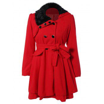 Fur Collar Fitted Pea Coat