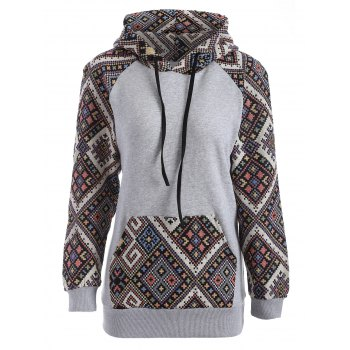 Front Pocket Jacquard Tribal Hoodie