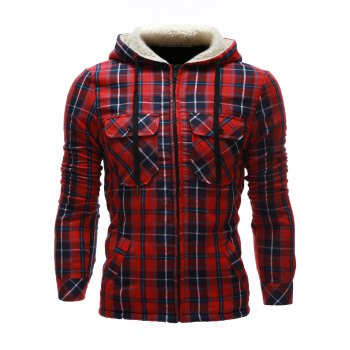 Zip Up Flocking Hooded Pocket Plaid Jacket