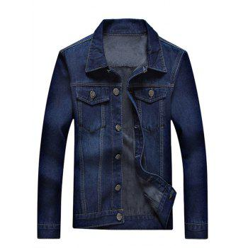 Button Up Pocket Front Flocking Denim Jacket