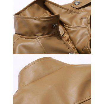 Button Up Epaulet Design PU Leather Jacket - STONE BLUE XL