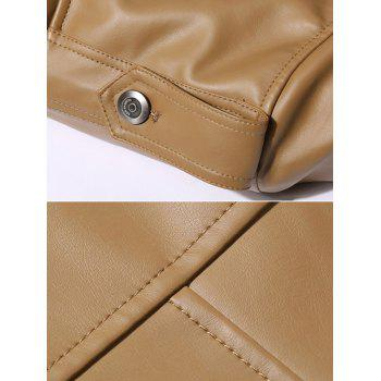Button Up Epaulet Design PU Leather Jacket - BROWN 3XL