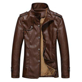 Button Up Epaulet Design PU Leather Jacket