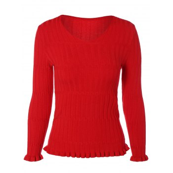 V Neck  Ruffle Ribbed Sweater