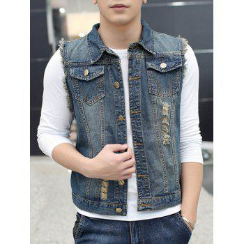 Frayed Pocket Distressed Denim Vest