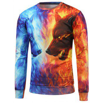 Fire Animal 3D Print Crew Neck Sweatshirt