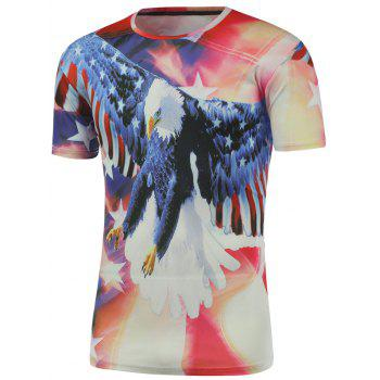 Round Neck Short Sleeve Eagle 3D Printed Tee