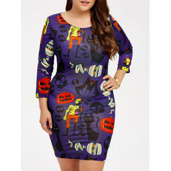 Skull Pumpkin Print Halloween Bodycon Dress