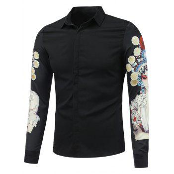 Buy Chinese Opera 3D Printed Long Sleeve Buttton Shirt BLACK