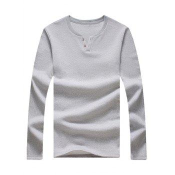 Notch Neck Button Long Sleeve Tee