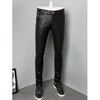 Skull Zipper Fly Skinny Faux Leather Pants