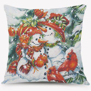 Christmas Snowman Pattern Square Cushion Throw Pillow Case