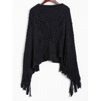 Geometric Pattern Fringed Poncho Sweater